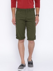 Locomotive Olive Green Slim Fit Cargo Shorts