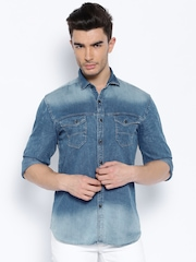 Locomotive Blue Denim Washed Casual Shirt