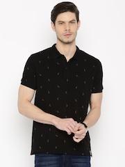 LOCOMOTIVE Men Black Printed Polo T-shirt