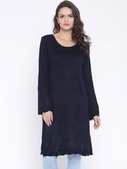 Anouk Women Navy Solid Knitted Long Kurta