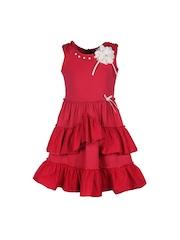 CUTECUMBER Girls Red Polyester A-Line Dress