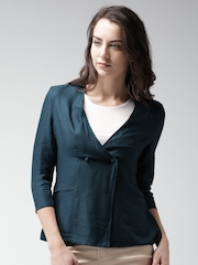 Mast & Harbour Teal Blue Collarless Double-Breasted Blazer