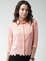 Mast & Harbour Women Peach Regular Fit Solid Casual Shirt