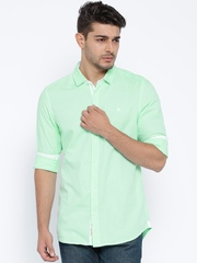 Being Human Clothing Green Slim Fit Casual Shirt