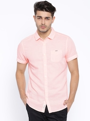 Being Human Clothing Peach-Coloured Slim Fit Casual Shirt