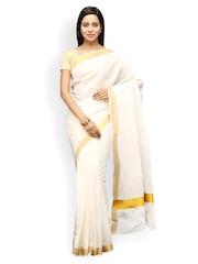Pavechas White Pure Kerala Cotton Traditional Saree