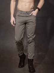 Roadster Men Brown Solid Flat-Front Trousers