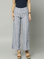 Marks & Spencer Blue Striped Linen Palazzo Trousers