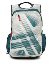 Skybags Unisex Off-White & Teal Green Printed Footloose Blitz 02 Backpack