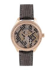 GUESS Women Grey & Black Textured Dial Watch W0626L2
