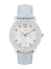 GUESS Women Silver-Toned Stone-Studded Dial Watch W0336L7