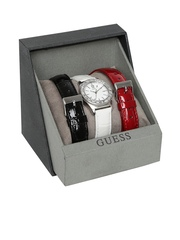 GUESS Women Silver-Toned Stone-Studded Dial Watch with Extra Straps W0092L1