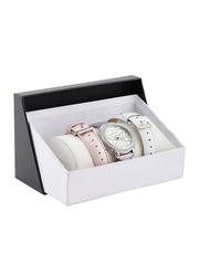 GUESS Women Off-White Stone-Studded Dial Watch with Extra Straps W0308L1
