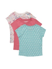 mothercare Girls Pack of 3 Printed T-shirts