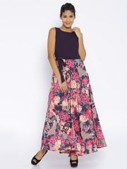 Tokyo Talkies Purple & Pink Floral Print Polyester Maxi Dress