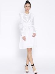 Tokyo Talkies White Striped Polyester A-Line Dress
