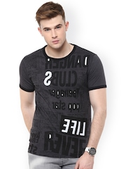 Avoir Envie Charcoal Grey Printed Slim Fit T-shirt