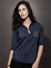 Roadster Women Blue Regular Fit Washed Denim Casual Shirt