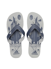 Adidas Men Navy & Grey Printed Flip-Flops