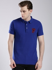 French Connection Blue Printed Back Polo T-shirt