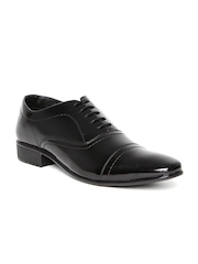 Franco Leone Men Black Glossy Formal Shoes