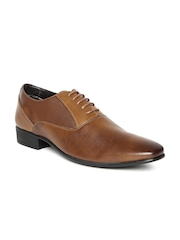 Franco Leone Men Tan Brown Textured Formal Shoes