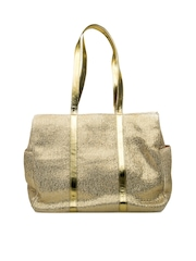 SG Collection Gold-Toned Shimmery Jute Tote Bag