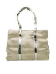 SG Collection Silver-Toned Shimmery Jute Tote Bag