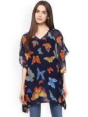 Color Cocktail Black Printed Georgette Poncho Top