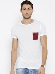 MR BUTTON White Structured Fit T-shirt