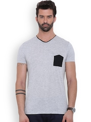 MR BUTTON Grey Melange Structured Fit T-shirt