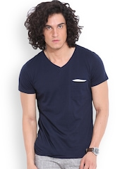 MR BUTTON Navy Structured Fit T-shirt