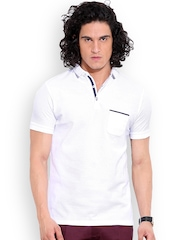 MR BUTTON White Structured Fit Polo T-shirt