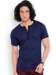 MR BUTTON Navy Structured Fit Henley T-shirt