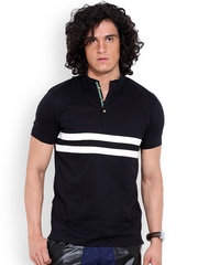 MR BUTTON Black Structured Fit Striped T-shirt