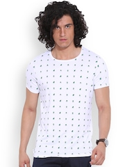 MR BUTTON White Printed Structured Fit T-shirt