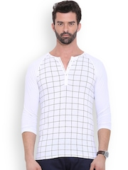 MR BUTTON White Checked Structured Fit Henley T-Shirt