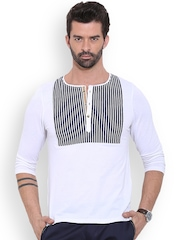 MR BUTTON White Striped Detail Henley T-shirt