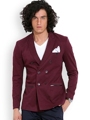 MR BUTTON Wine-Coloured Structured Fit Casual Blazer