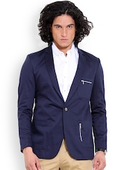 MR BUTTON Navy Single-Breasted Structured Fit Casual Blazer