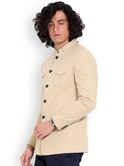 MR BUTTON Beige Linen Single-Breasted Structured Fit Casual Blazer