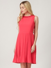 Marie Claire Coral Pink Crepe Pleated Fit & Flare Dress