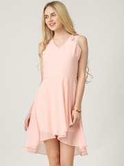 Marie Claire Pink Georgette Fit & Flare Dress