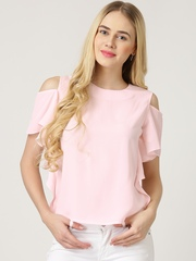 Marie Claire Pink Crepe Cold Shoulder Top
