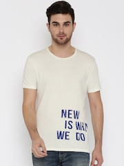 United Colors of Benetton Off-white Printed Round Neck T-shirt