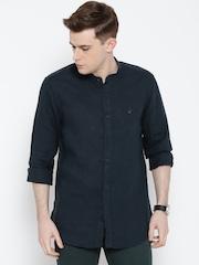 Wills Lifestyle Navy Linen Slim Casual Shirt