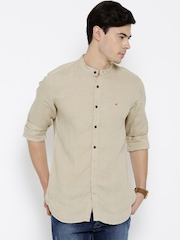 Wills Lifestyle Beige Linen Slim Casual Shirt