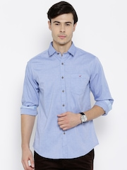 Wills Lifestyle Blue Slim Fit Casual Shirt