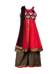 Twisha Girls Pink & Black Printed Georgette Kurta with Palazzo Trousers & Dupatta