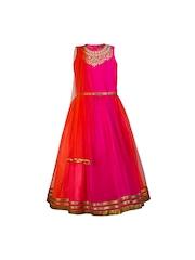 Twisha Girls Pink Dupion & Net Lehenga Choli